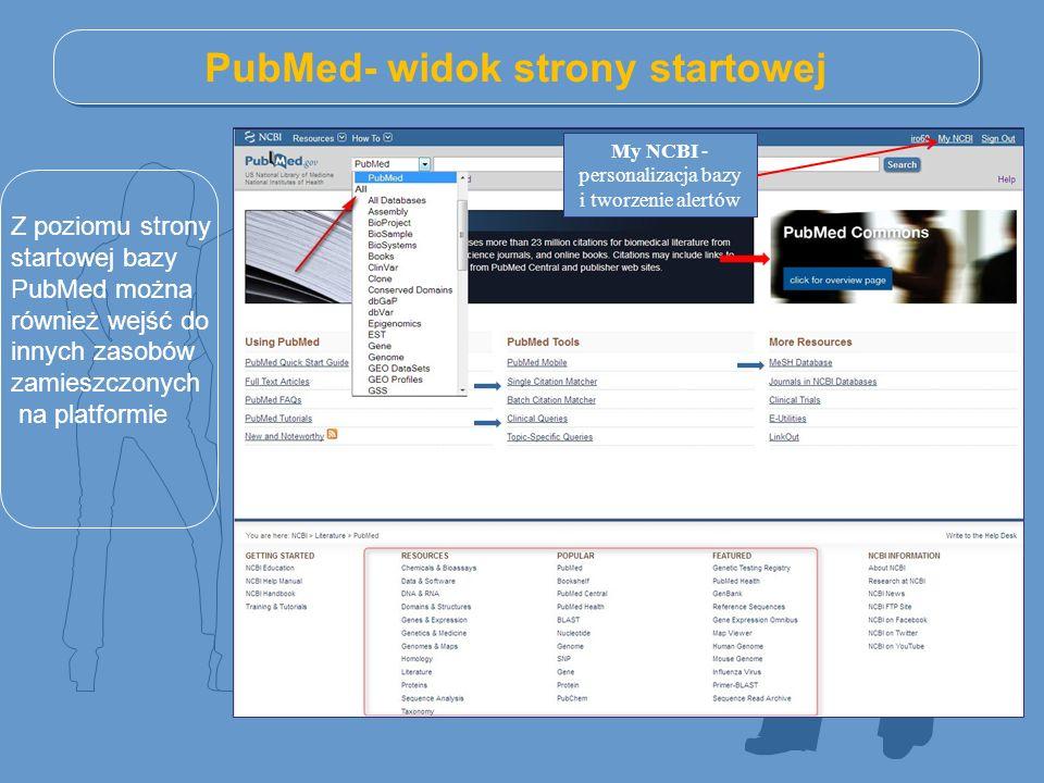 PubMed- widok strony startowej Z poziomu strony startowej bazy PubMed można również wejść do innych zasobów zamieszczonych na platformie My NCBI - personalizacja bazy i tworzenie alertów