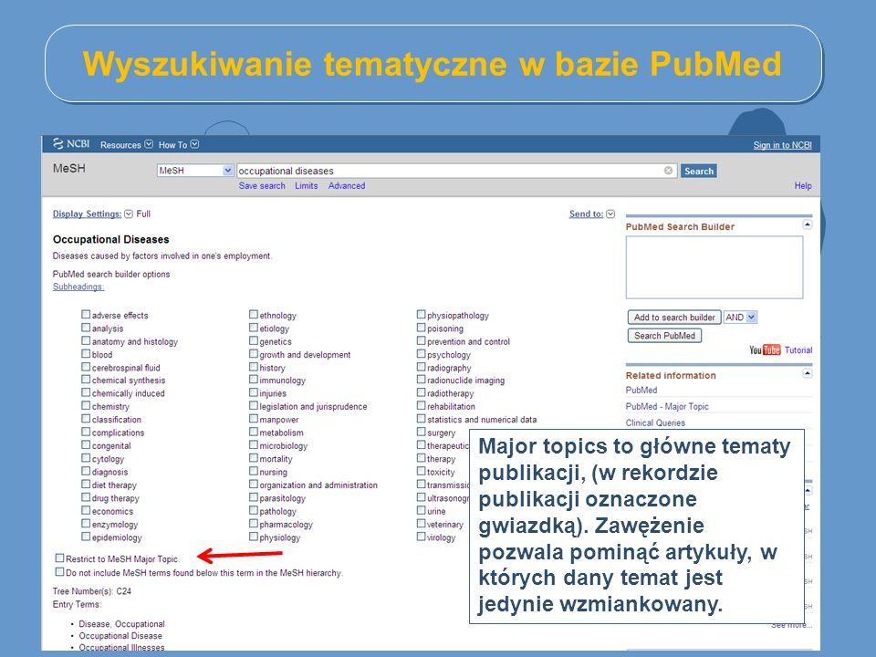 Wyszukiwanie tematyczne w bazie PubMed Major topics to główne tematy publikacji, (w rekordzie publikacji oznaczone gwiazdką). Zawężenie pozwala pominą