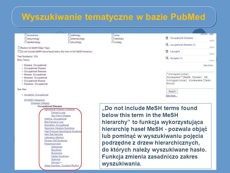 """Wyszukiwanie tematyczne w bazie PubMed """"Do not include MeSH terms found below this term in the MeSH hierarchy to funkcja wykorzystująca hierarchię haseł MeSH - pozwala objąć lub pominąć w wyszukiwaniu pojęcia podrzędne z drzew hierarchicznych, do których należy wyszukiwane hasło."""
