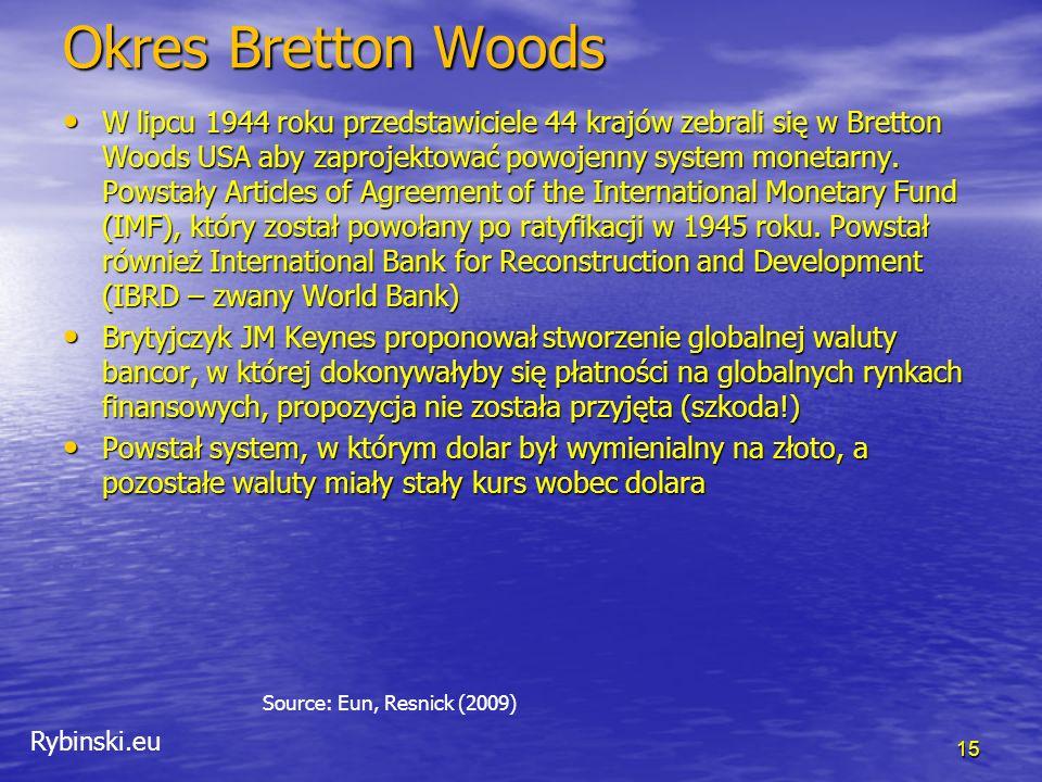 Rybinski.eu Bretton Woods period 16 Source: Eun, Resnick (2009)