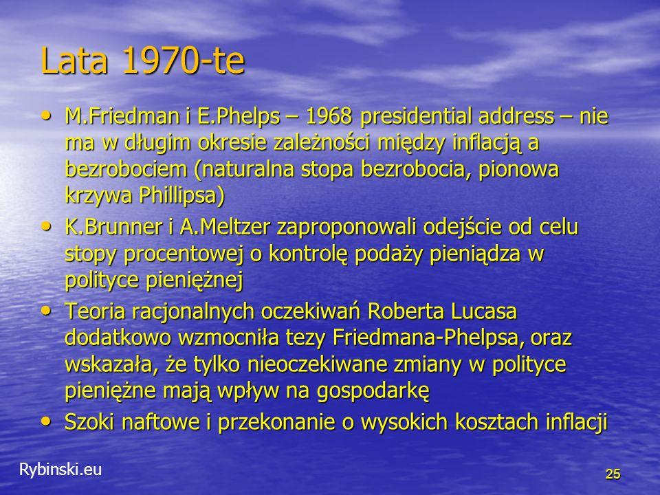 Rybinski.eu Cel – agregaty pieniężne W połowie lat 1970-tych wiele krajów rozwiniętych rozpoczęło prowadzenie polityki pieniężnej w oparciu o kontrolę podaży pieniądza.