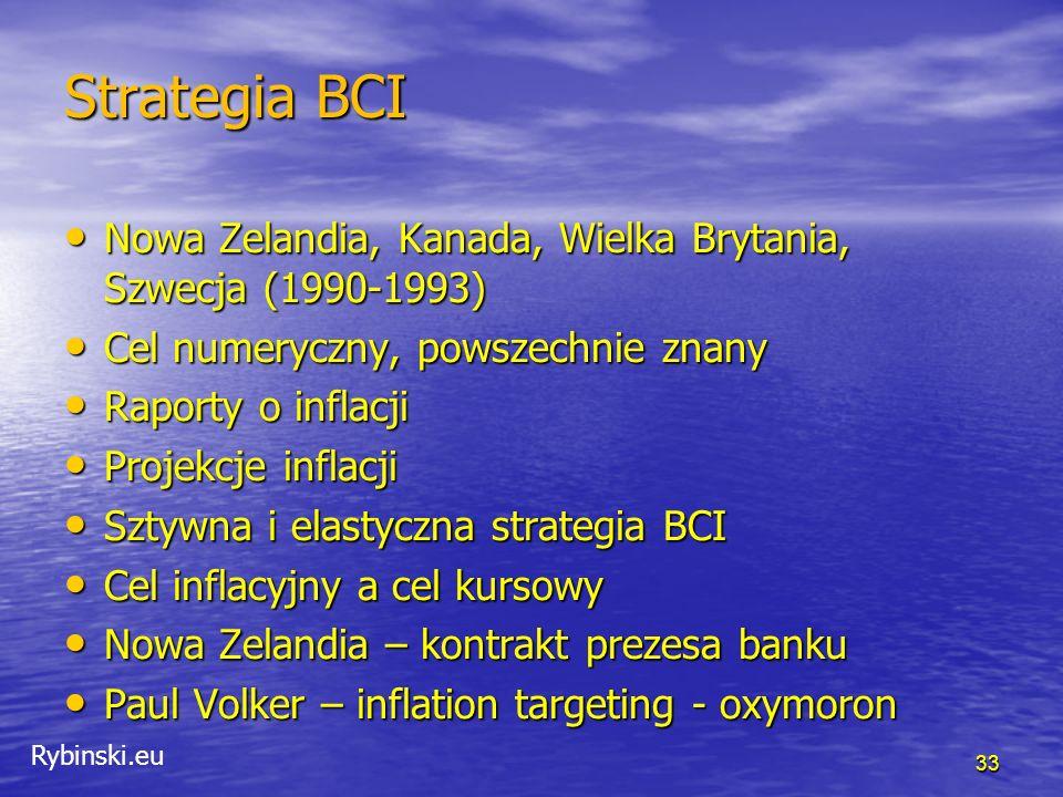 Rybinski.eu Duże kraje ECB – cel numeryczny, inflacja poniżej 2% ale blisko 2%, dwa filary, gospodarczy i monetarny ECB – cel numeryczny, inflacja poniżej 2% ale blisko 2%, dwa filary, gospodarczy i monetarny Rezerwa federalna – numeryczny quasi cel inflacyjny (comfort zone), dualny mandat – stabilność cen i pełne zatrudnienie Rezerwa federalna – numeryczny quasi cel inflacyjny (comfort zone), dualny mandat – stabilność cen i pełne zatrudnienie Bank Japonii – niejasny mandat, dekada walki z deflacją za pomocą drukowania pieniędzy Bank Japonii – niejasny mandat, dekada walki z deflacją za pomocą drukowania pieniędzy 34