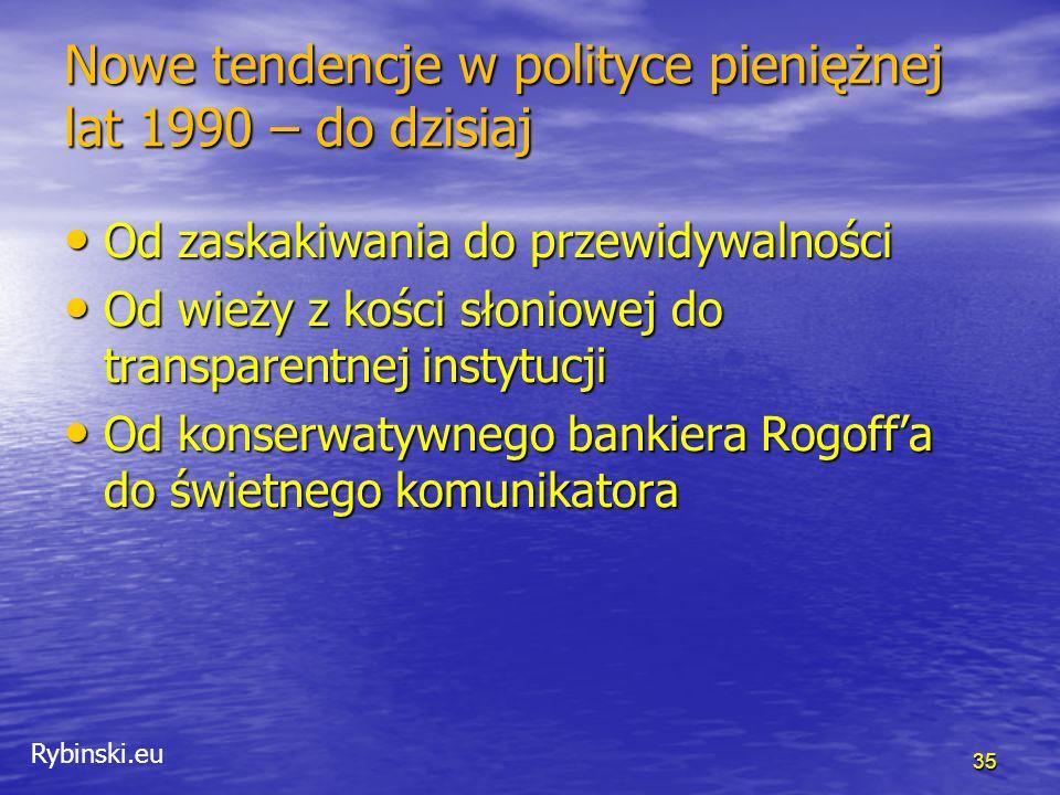 """Rybinski.eu Od zaskakiwania do przewidywalności """"anty-cykliczna polityka musi być nieprzewidywalna … podczas gdy zarazem musi być systematycznie dopasowana do stanu gospodarki."""