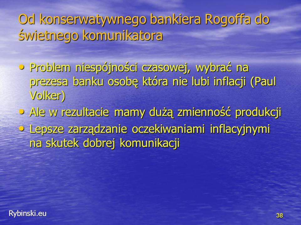 """Rybinski.eu Od konserwatywnego bankiera Rogoffa do świetnego komunikatora Fedspeak Fedspeak """" … od kiedy zostałem bankierem centralnym, nauczyłem się mówić nie wprost w sposób wielce niespójny."""