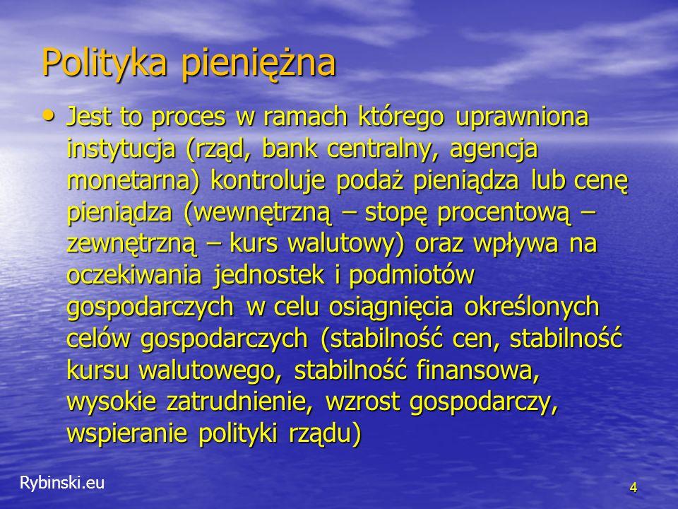 Rybinski.eu Rys historyczny Polityka pieniężna zależy od rodzaju systemu walutowego obowiązującego w danym kraju Polityka pieniężna zależy od rodzaju systemu walutowego obowiązującego w danym kraju Obecnie znany system płynnych kursów walutowych obowiązuje do niedawna Obecnie znany system płynnych kursów walutowych obowiązuje do niedawna 5