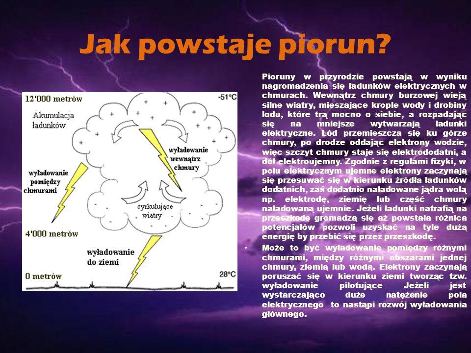 Jak powstaje piorun? Pioruny w przyrodzie powstają w wyniku nagromadzenia się ładunków elektrycznych w chmurach. Wewnątrz chmury burzowej wieją silne