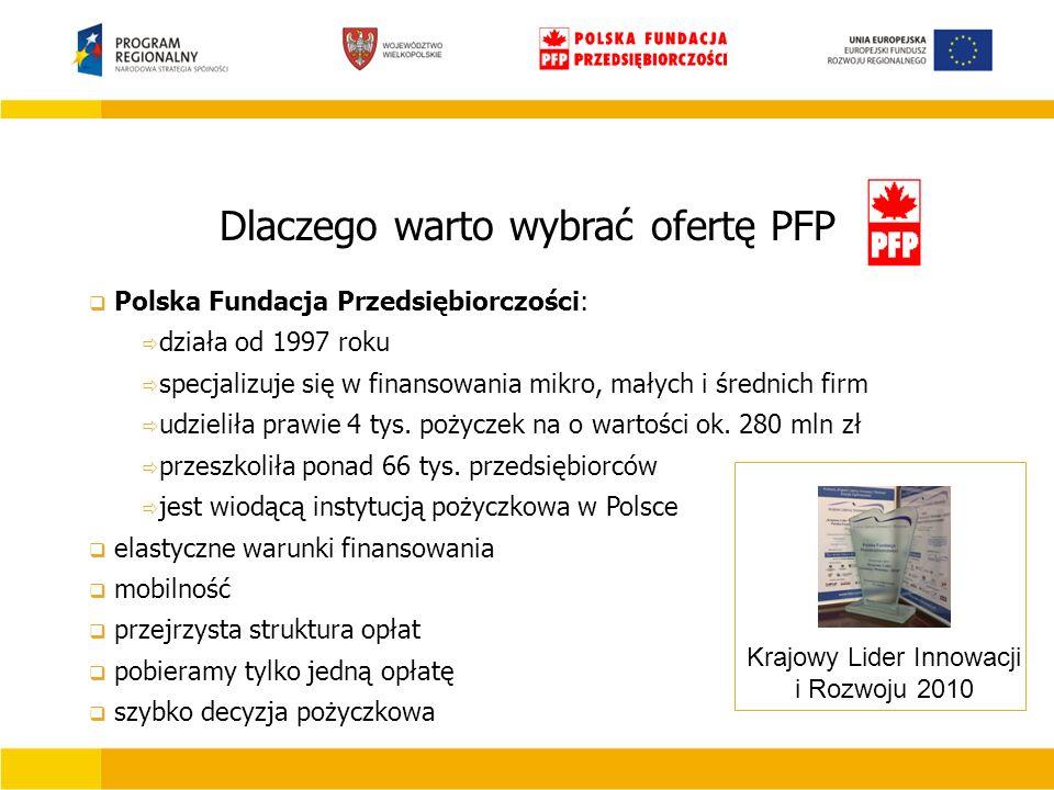 Dlaczego warto wybrać ofertę PFP Krajowy Lider Innowacji i Rozwoju 2010  Polska Fundacja Przedsiębiorczości:  działa od 1997 roku  specjalizuje się w finansowania mikro, małych i średnich firm  udzieliła prawie 4 tys.