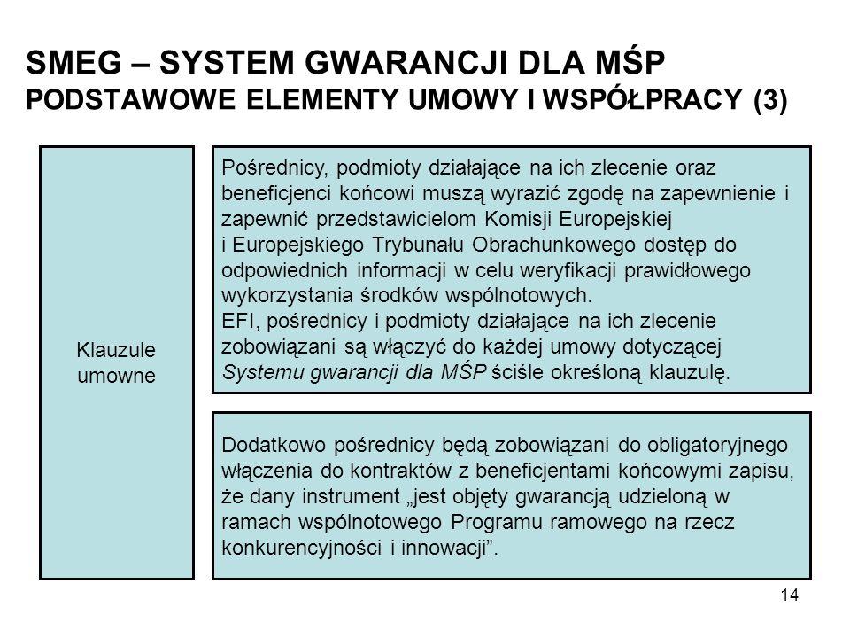 SMEG – SYSTEM GWARANCJI DLA MŚP PODSTAWOWE ELEMENTY UMOWY I WSPÓŁPRACY (3) Klauzule umowne Pośrednicy, podmioty działające na ich zlecenie oraz beneficjenci końcowi muszą wyrazić zgodę na zapewnienie i zapewnić przedstawicielom Komisji Europejskiej i Europejskiego Trybunału Obrachunkowego dostęp do odpowiednich informacji w celu weryfikacji prawidłowego wykorzystania środków wspólnotowych.
