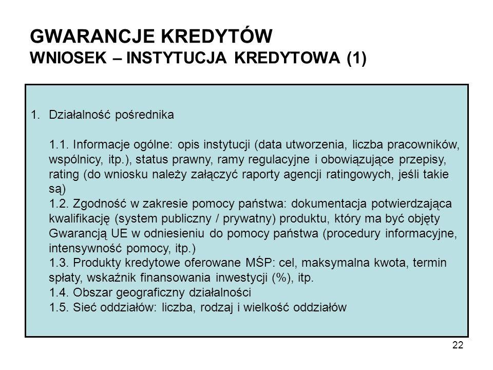 GWARANCJE KREDYTÓW WNIOSEK – INSTYTUCJA KREDYTOWA (1) 1.Działalność pośrednika 1.1. Informacje ogólne: opis instytucji (data utworzenia, liczba pracow