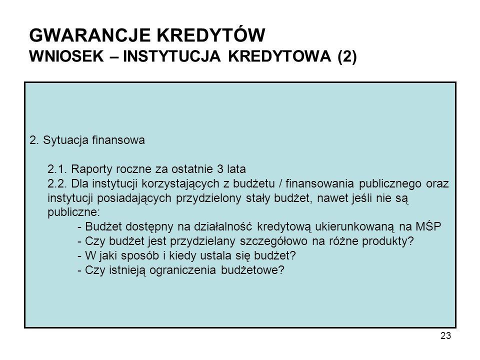 GWARANCJE KREDYTÓW WNIOSEK – INSTYTUCJA KREDYTOWA (2) 2. Sytuacja finansowa 2.1. Raporty roczne za ostatnie 3 lata 2.2. Dla instytucji korzystających