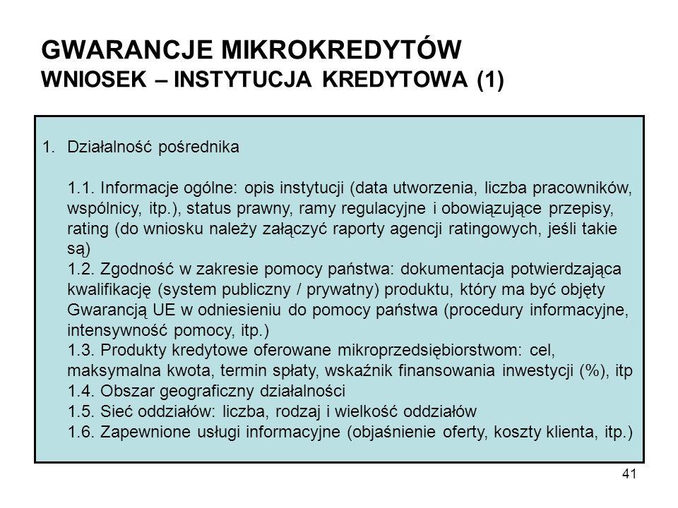 GWARANCJE MIKROKREDYTÓW WNIOSEK – INSTYTUCJA KREDYTOWA (1) 1.Działalność pośrednika 1.1. Informacje ogólne: opis instytucji (data utworzenia, liczba p