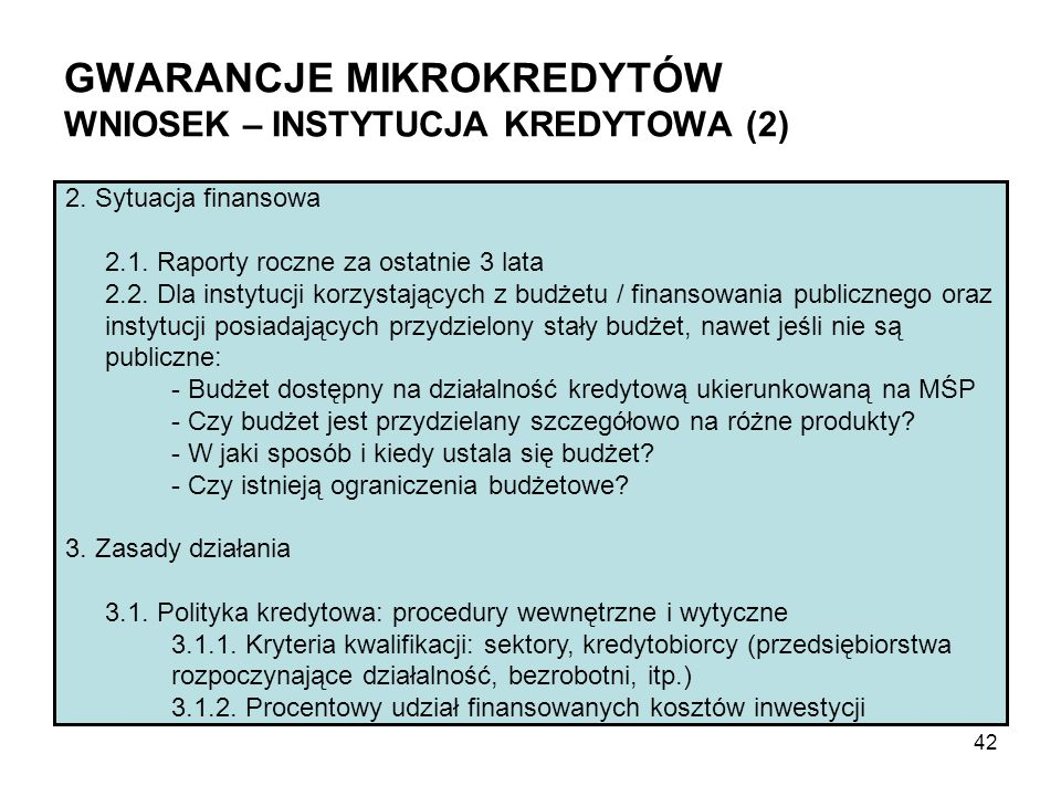 GWARANCJE MIKROKREDYTÓW WNIOSEK – INSTYTUCJA KREDYTOWA (2) 2.
