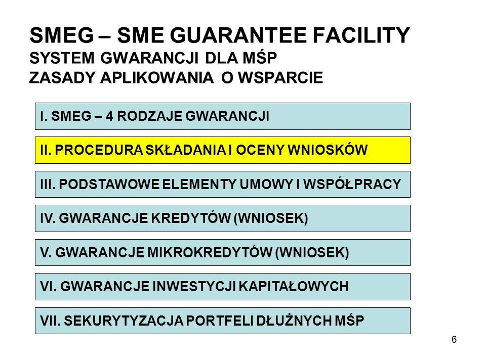 Struktura wniosku dla instytucji udzielającej gwarancji w ramach Programu na rzecz konkurencyjności i innowacji 2007 – 2013 GWARANCJE KREDYTÓW WNIOSEK – INSTYTUCJA GWARANCYJNA 27