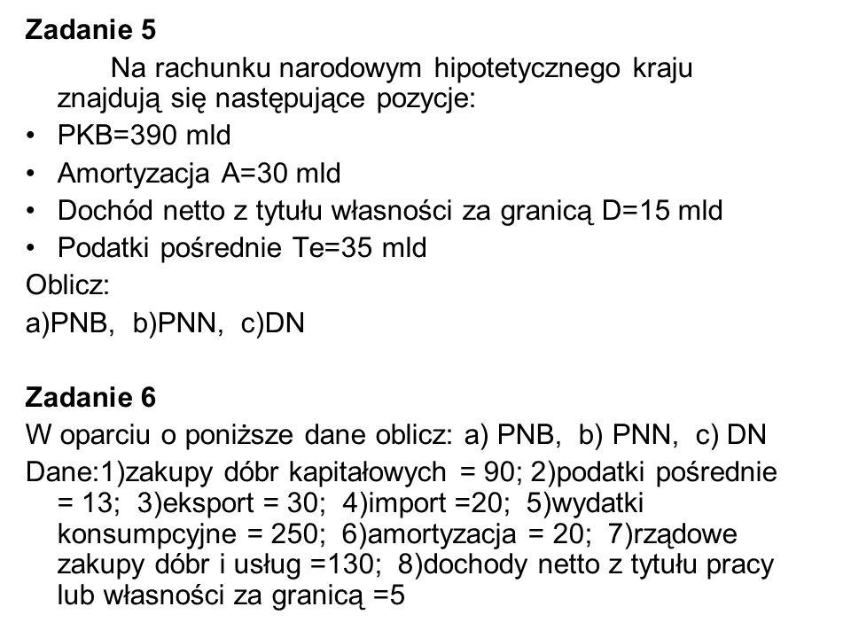 Zadanie 5 Na rachunku narodowym hipotetycznego kraju znajdują się następujące pozycje: PKB=390 mld Amortyzacja A=30 mld Dochód netto z tytułu własności za granicą D=15 mld Podatki pośrednie Te=35 mld Oblicz: a)PNB, b)PNN, c)DN Zadanie 6 W oparciu o poniższe dane oblicz: a) PNB, b) PNN, c) DN Dane:1)zakupy dóbr kapitałowych = 90; 2)podatki pośrednie = 13; 3)eksport = 30; 4)import =20; 5)wydatki konsumpcyjne = 250; 6)amortyzacja = 20; 7)rządowe zakupy dóbr i usług =130; 8)dochody netto z tytułu pracy lub własności za granicą =5