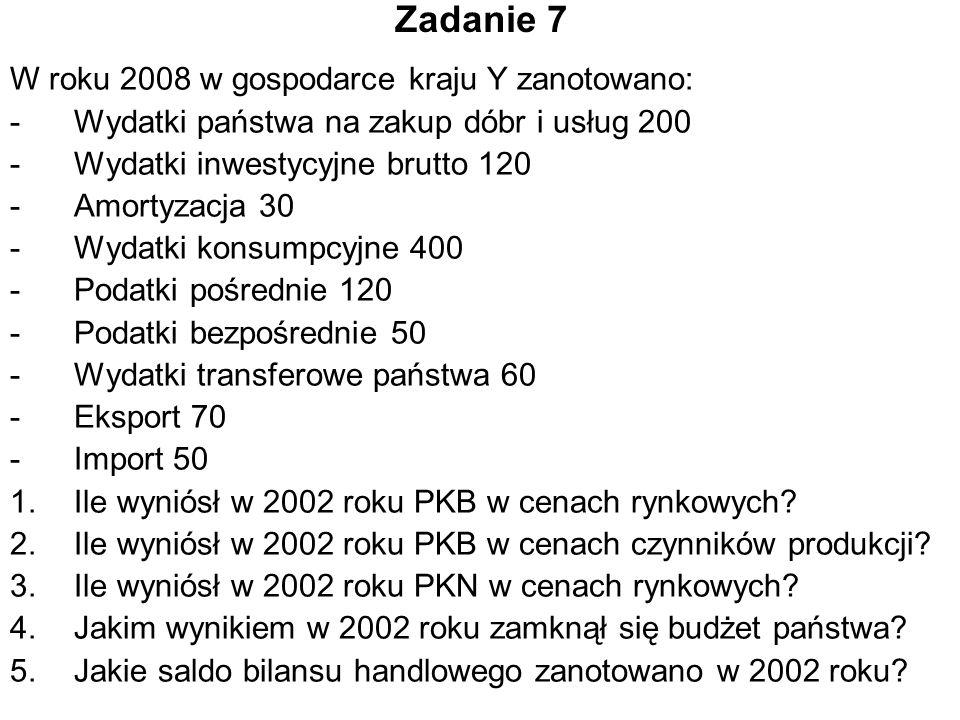 Zadanie 7 W roku 2008 w gospodarce kraju Y zanotowano: -Wydatki państwa na zakup dóbr i usług 200 -Wydatki inwestycyjne brutto 120 -Amortyzacja 30 -Wydatki konsumpcyjne 400 -Podatki pośrednie 120 -Podatki bezpośrednie 50 -Wydatki transferowe państwa 60 -Eksport 70 -Import 50 1.Ile wyniósł w 2002 roku PKB w cenach rynkowych.