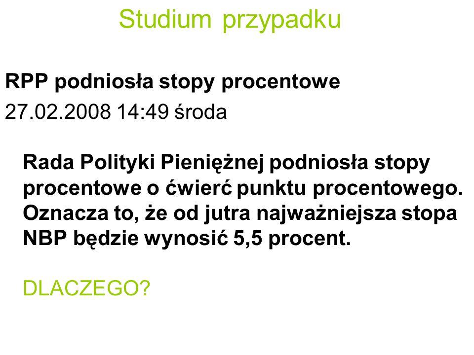 Studium przypadku RPP podniosła stopy procentowe 27.02.2008 14:49 środa Rada Polityki Pieniężnej podniosła stopy procentowe o ćwierć punktu procentowego.