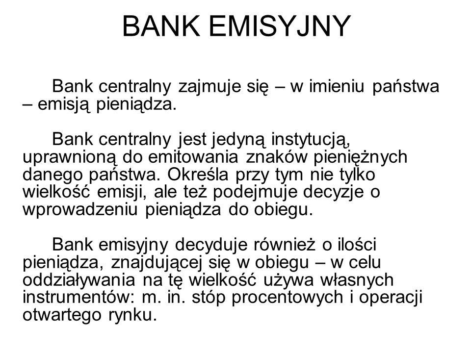 BANK EMISYJNY Bank centralny zajmuje się – w imieniu państwa – emisją pieniądza.