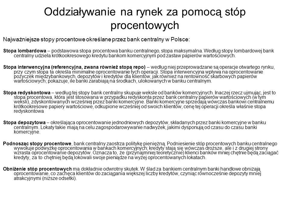 Oddziaływanie na rynek za pomocą stóp procentowych Najważniejsze stopy procentowe określane przez bank centralny w Polsce: Stopa lombardowa – podstawowa stopa procentowa banku centralnego, stopa maksymalna.