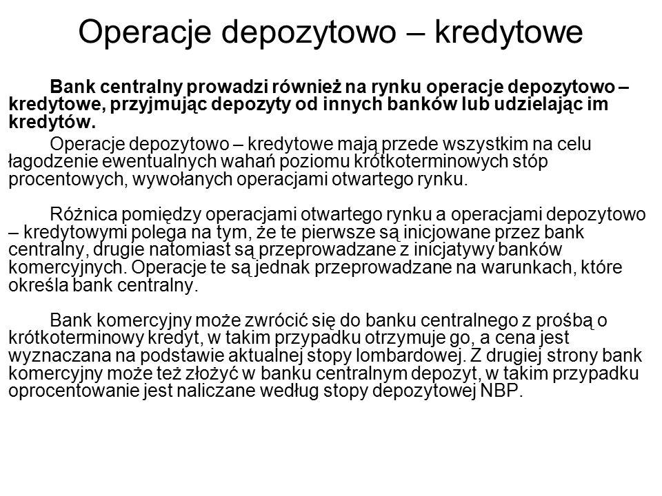 Operacje depozytowo – kredytowe Bank centralny prowadzi również na rynku operacje depozytowo – kredytowe, przyjmując depozyty od innych banków lub udzielając im kredytów.
