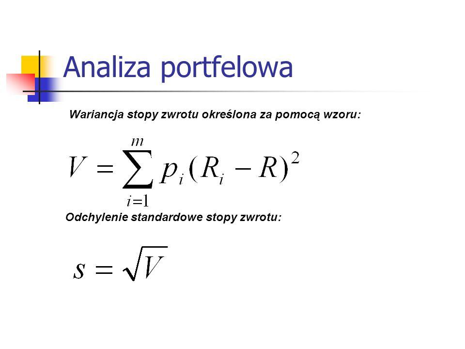 Analiza portfelowa Wariancja stopy zwrotu określona za pomocą wzoru: Odchylenie standardowe stopy zwrotu: