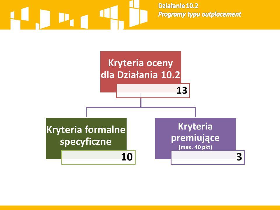 Kryteria oceny dla Działania 10.2 13 Kryteria formalne specyficzne 10 Kryteria premiujące (max. 40 pkt) 3