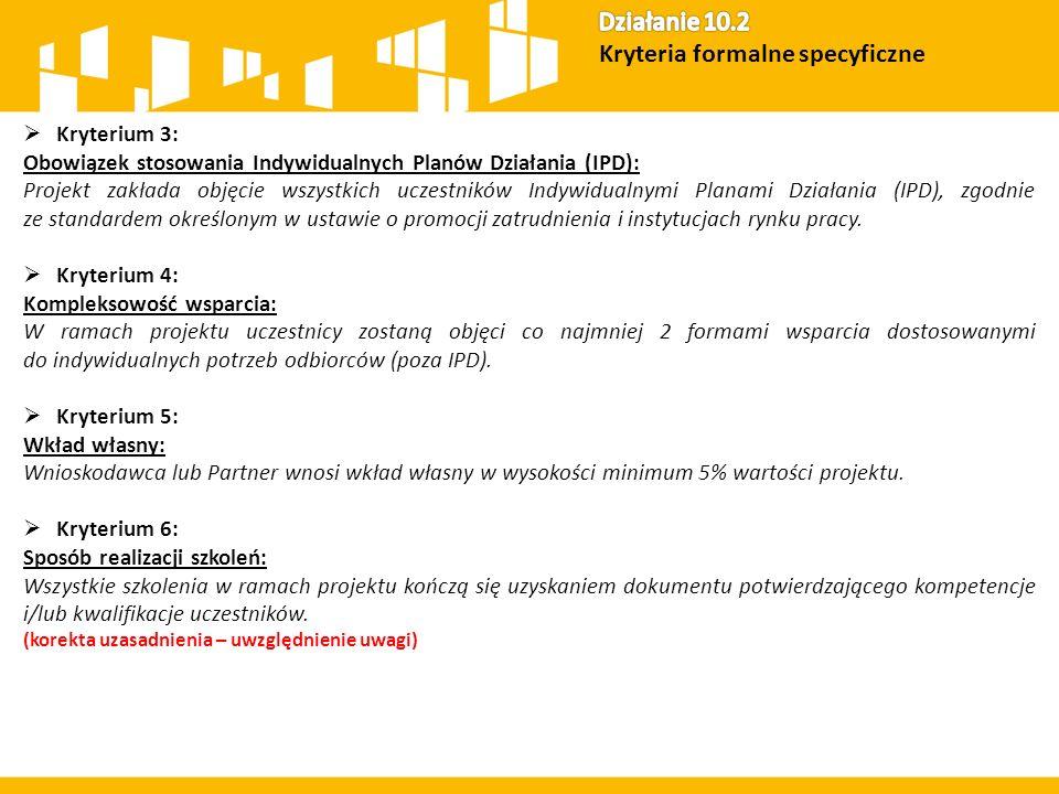  Kryterium 3: Obowiązek stosowania Indywidualnych Planów Działania (IPD): Projekt zakłada objęcie wszystkich uczestników Indywidualnymi Planami Dział