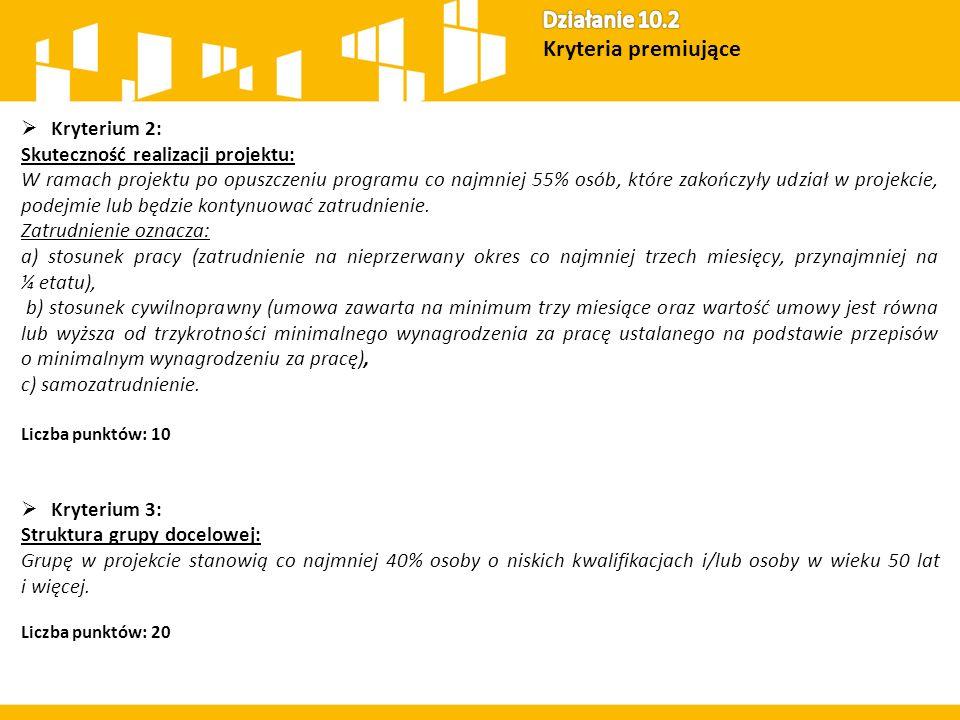  Kryterium 2: Skuteczność realizacji projektu: W ramach projektu po opuszczeniu programu co najmniej 55% osób, które zakończyły udział w projekcie, p