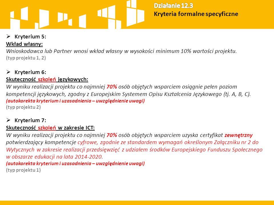  Kryterium 5: Wkład własny: Wnioskodawca lub Partner wnosi wkład własny w wysokości minimum 10% wartości projektu. (typ projektu 1, 2)  Kryterium 6: