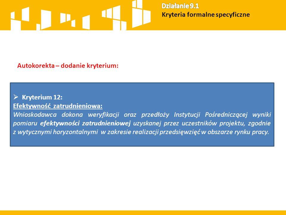 Kryteria oceny dla Działania 11.1 14 Kryteria formalne specyficzne 10 Kryteria premiujące (max.