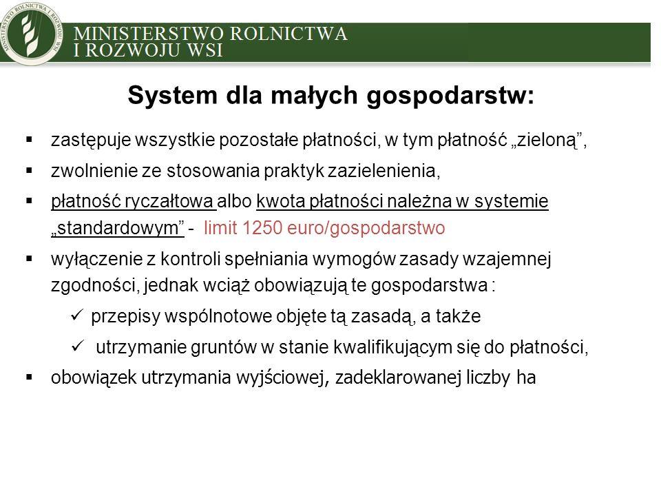 """MINISTRY OF AGRICULTURE AND RURAL DEVELOPMENT System dla małych gospodarstw:  zastępuje wszystkie pozostałe płatności, w tym płatność """"zieloną ,  zwolnienie ze stosowania praktyk zazielenienia,  płatność ryczałtowa albo kwota płatności należna w systemie """"standardowym - limit 1250 euro/gospodarstwo  wyłączenie z kontroli spełniania wymogów zasady wzajemnej zgodności, jednak wciąż obowiązują te gospodarstwa : przepisy wspólnotowe objęte tą zasadą, a także utrzymanie gruntów w stanie kwalifikującym się do płatności,  obowiązek utrzymania wyjściowej, zadeklarowanej liczby ha"""