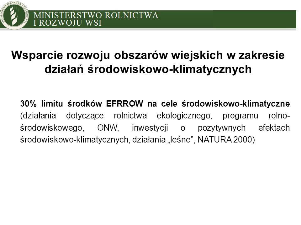 """MINISTRY OF AGRICULTURE AND RURAL DEVELOPMENT Wsparcie rozwoju obszarów wiejskich w zakresie działań środowiskowo-klimatycznych 30% limitu środków EFRROW na cele środowiskowo-klimatyczne (działania dotyczące rolnictwa ekologicznego, programu rolno- środowiskowego, ONW, inwestycji o pozytywnych efektach środowiskowo-klimatycznych, działania """"leśne , NATURA 2000)"""