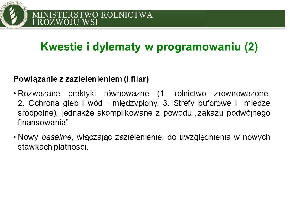 MINISTRY OF AGRICULTURE AND RURAL DEVELOPMENT Kwestie i dylematy w programowaniu (2) Powiązanie z zazielenieniem (I filar) Rozważane praktyki równoważ