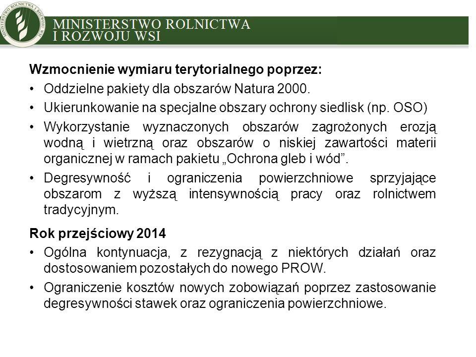 MINISTRY OF AGRICULTURE AND RURAL DEVELOPMENT Wzmocnienie wymiaru terytorialnego poprzez: Oddzielne pakiety dla obszarów Natura 2000. Ukierunkowanie n