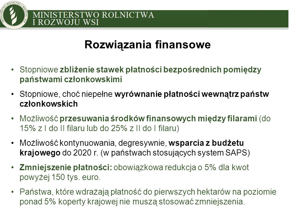 MINISTRY OF AGRICULTURE AND RURAL DEVELOPMENT Stawki PB w 2020 r.