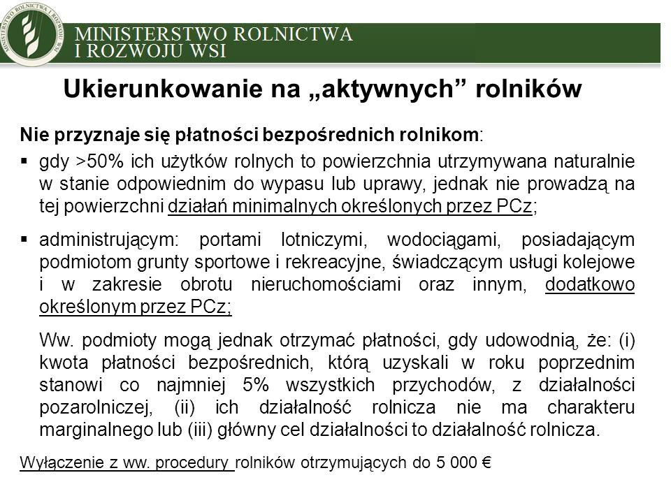 MINISTRY OF AGRICULTURE AND RURAL DEVELOPMENT Nie przyznaje się płatności bezpośrednich rolnikom:  gdy >50% ich użytków rolnych to powierzchnia utrzy