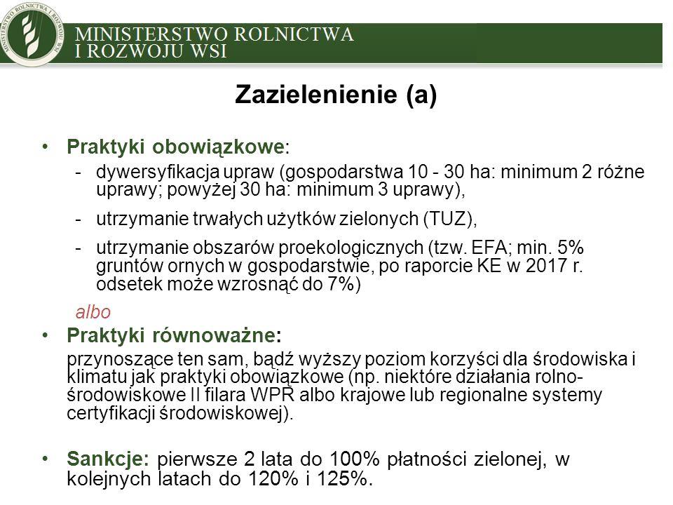 MINISTRY OF AGRICULTURE AND RURAL DEVELOPMENT Praktyki obowiązkowe: -dywersyfikacja upraw (gospodarstwa 10 - 30 ha: minimum 2 różne uprawy; powyżej 30 ha: minimum 3 uprawy), -utrzymanie trwałych użytków zielonych (TUZ), -utrzymanie obszarów proekologicznych (tzw.