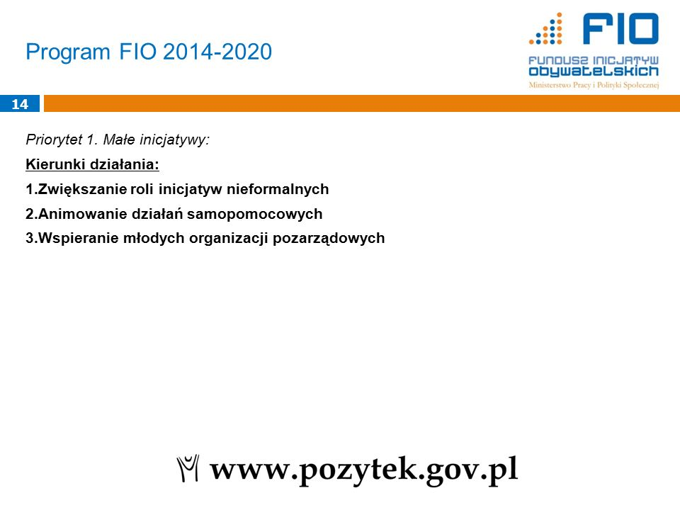 Program FIO 2014-2020 14 Priorytet 1.