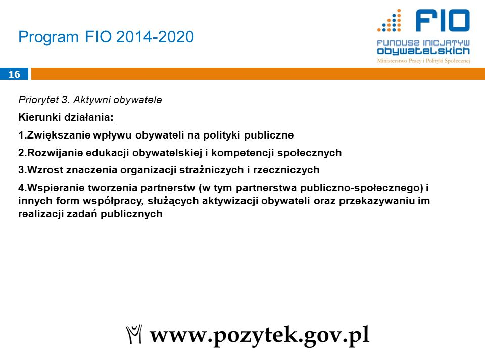 Program FIO 2014-2020 16 Priorytet 3.