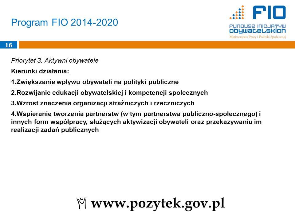 Program FIO 2014-2020 16 Priorytet 3. Aktywni obywatele Kierunki działania: 1.Zwiększanie wpływu obywateli na polityki publiczne 2.Rozwijanie edukacji