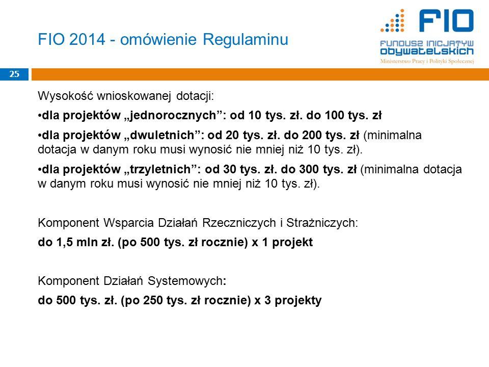 """Wysokość wnioskowanej dotacji: dla projektów """"jednorocznych : od 10 tys."""