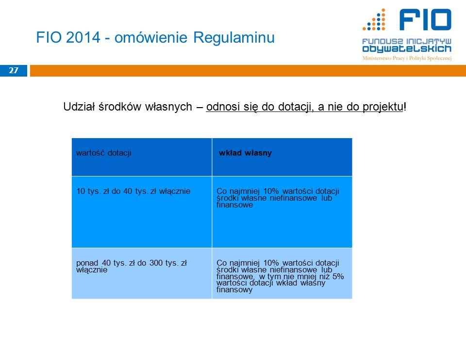 27 wartość dotacji wkład własny 10 tys. zł do 40 tys.
