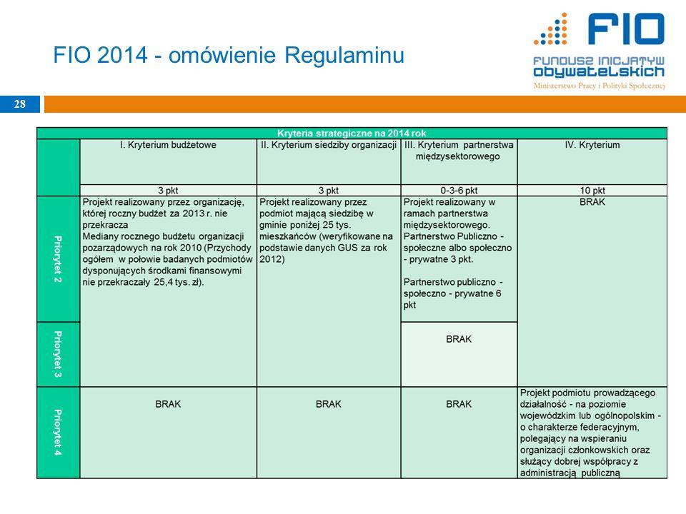 FIO 2014 - omówienie Regulaminu 28