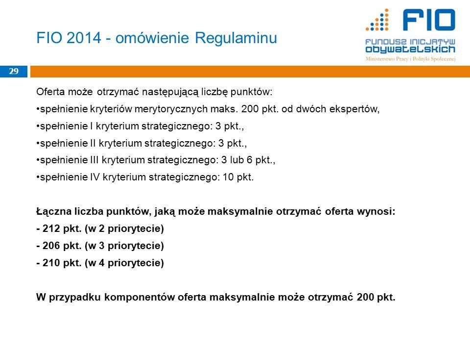 FIO 2014 - omówienie Regulaminu Oferta może otrzymać następującą liczbę punktów: spełnienie kryteriów merytorycznych maks. 200 pkt. od dwóch ekspertów