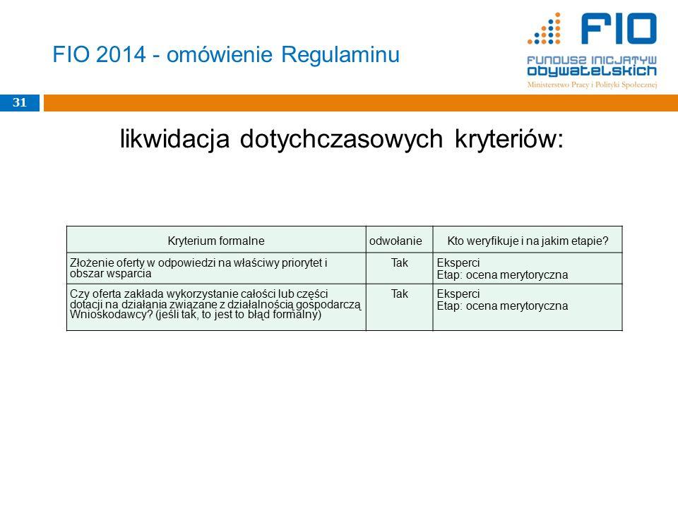 FIO 2014 - omówienie Regulaminu likwidacja dotychczasowych kryteriów: 31 Kryterium formalneodwołanieKto weryfikuje i na jakim etapie? Złożenie oferty