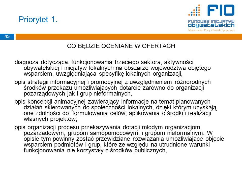 Priorytet 1. 45 CO BĘDZIE OCENIANE W OFERTACH diagnoza dotycząca: funkcjonowania trzeciego sektora, aktywności obywatelskiej i inicjatyw lokalnych na