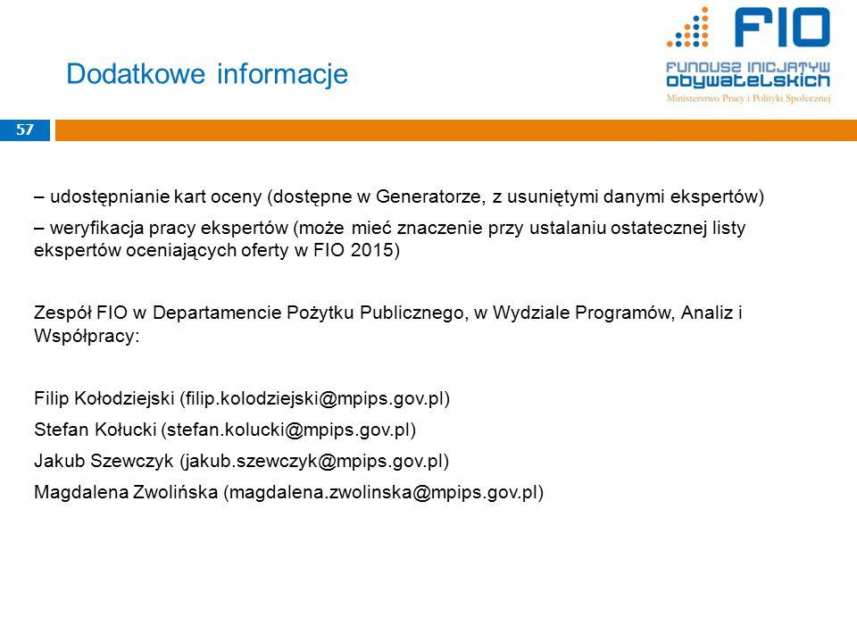 – udostępnianie kart oceny (dostępne w Generatorze, z usuniętymi danymi ekspertów) – weryfikacja pracy ekspertów (może mieć znaczenie przy ustalaniu o