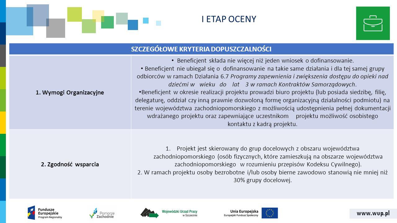 www.wup.pl SZCZEGÓŁOWE KRYTERIA DOPUSZCZALNOŚCI 1. Wymogi Organizacyjne Beneficjent składa nie więcej niż jeden wniosek o dofinansowanie. Beneficjent