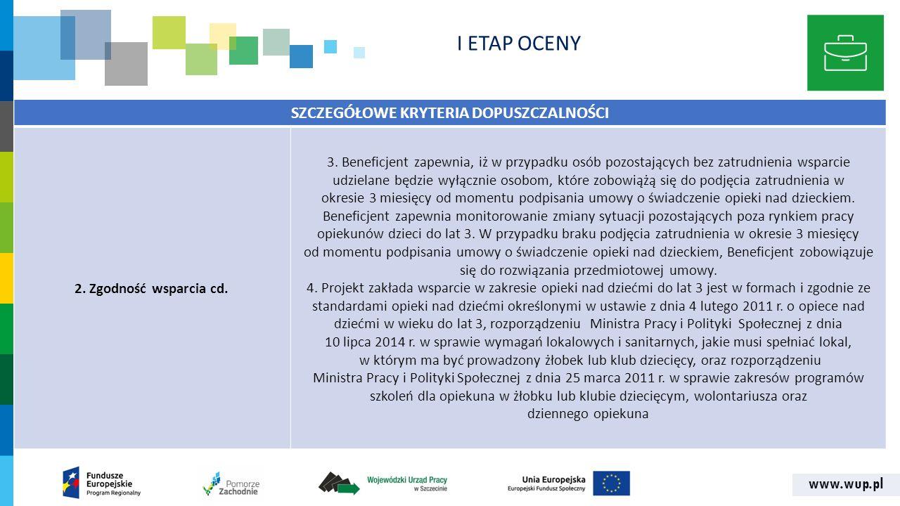 www.wup.pl SZCZEGÓŁOWE KRYTERIA DOPUSZCZALNOŚCI 2. Zgodność wsparcia cd. 3. Beneficjent zapewnia, iż w przypadku osób pozostających bez zatrudnienia w