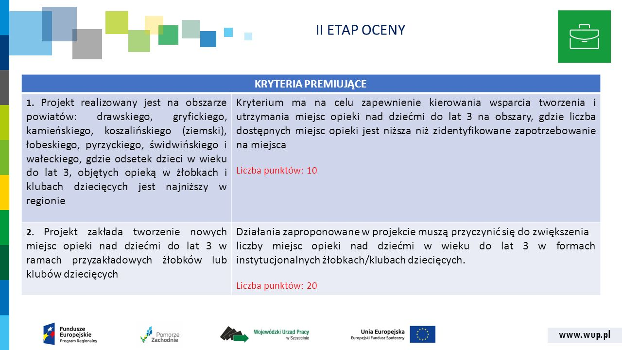 www.wup.pl KRYTERIA PREMIUJĄCE 1. Projekt realizowany jest na obszarze powiatów: drawskiego, gryfickiego, kamieńskiego, koszalińskiego (ziemski), łobe