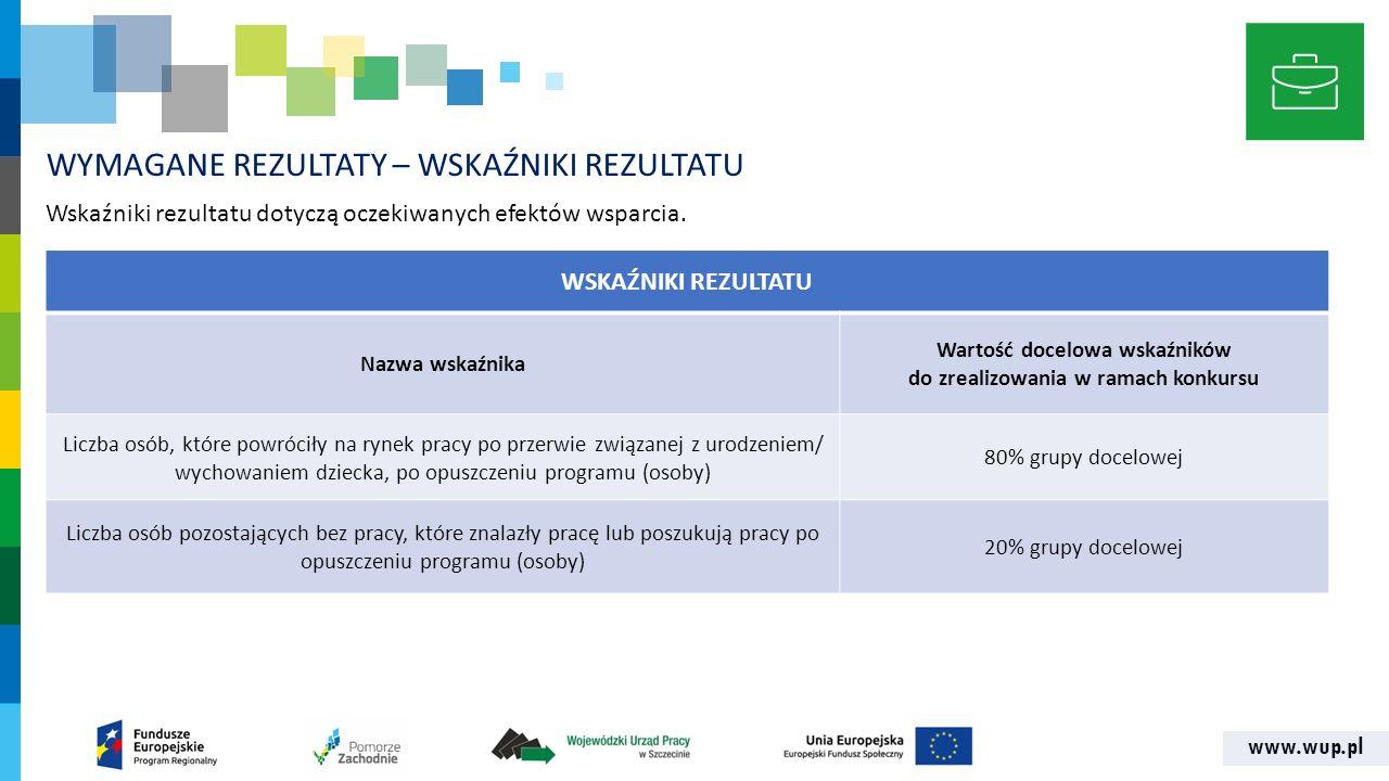 www.wup.pl WYMAGANE REZULTATY – WSKAŹNIKI REZULTATU Wskaźniki rezultatu dotyczą oczekiwanych efektów wsparcia. WSKAŹNIKI REZULTATU Nazwa wskaźnika War